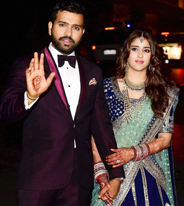 Rohit and Ritika at their wedding reception