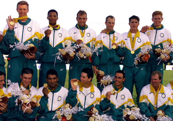 South African team posing with their gold medals