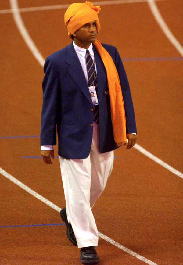 Sachin walks during the opening ceremony of the 1998 CWG in Kuala Lumpur