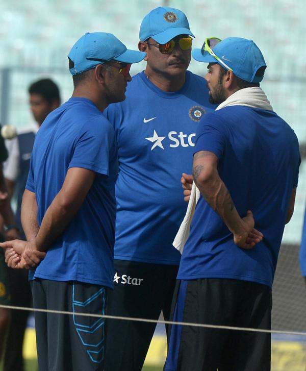 Shastri with Kohli and Dhoni