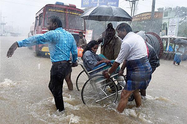 wheelchair chennai rainfall