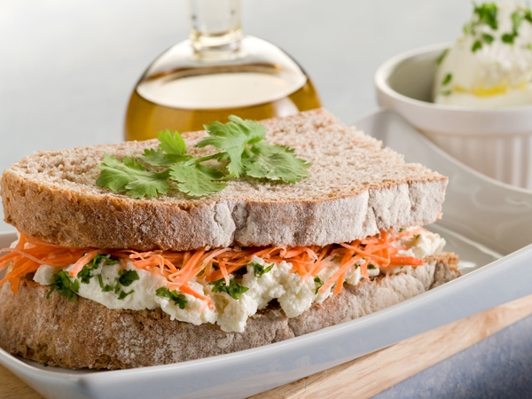 Healthy Snack: Carrot And Cheese Sandwich