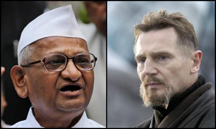 Anna Hazare, Liam Neeson