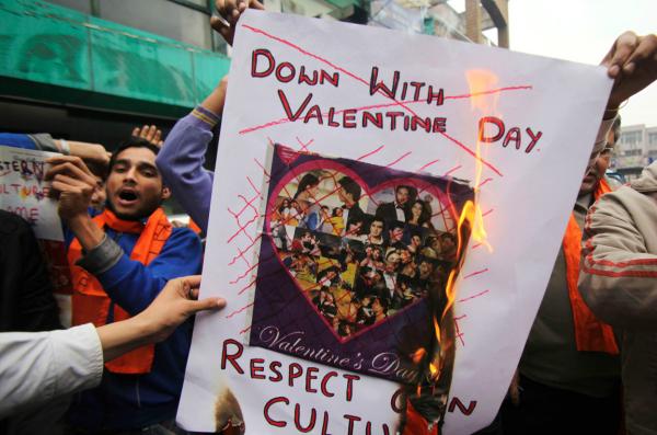 jammu valentine's protest