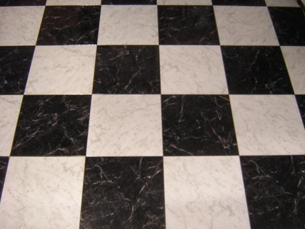 Black and white square floor