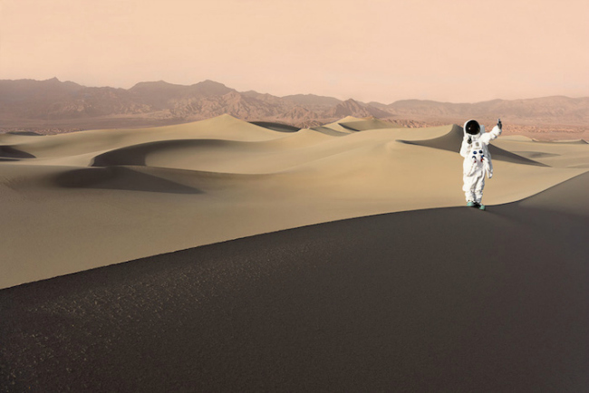 Greetings From Mars features photos where Julien pretends to visit Mars as a tourist