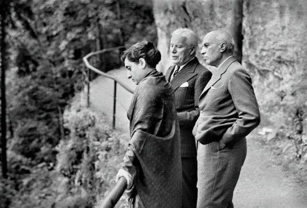 Indira Gandhi with Charlie Chaplin and Jawaharlal Nehru