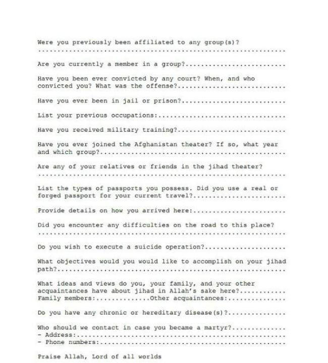 Al-Qaeda Application Form