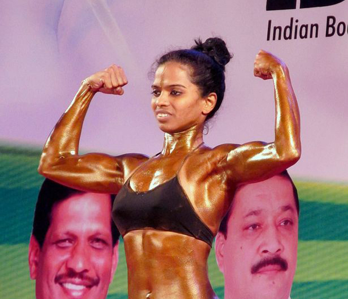 Ashwini came in fifth place in her first bodybuilding event.