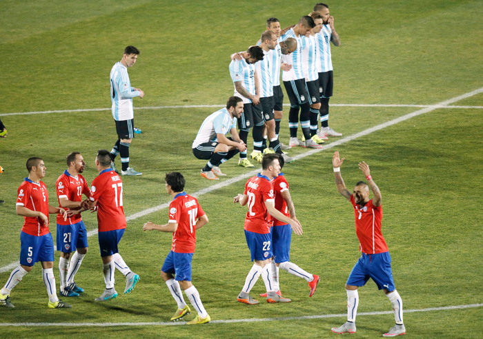 Argentina missed two penalty strokes while Chile converted all their penalties.