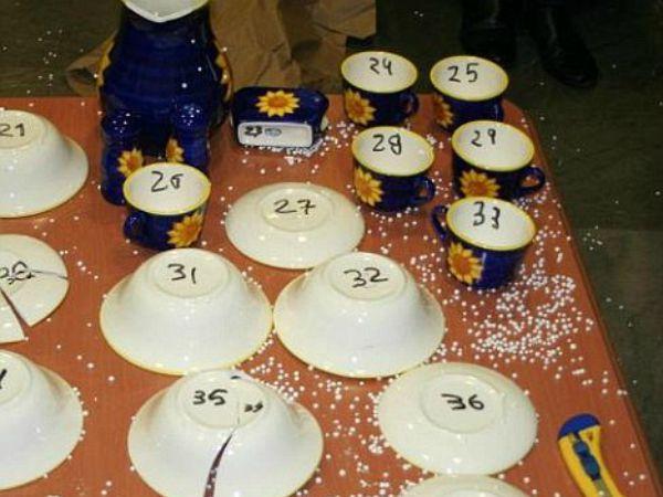 Dinner set made of cocaine