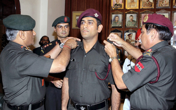 MS Dhoni was conferred the honorary rank of lieutenant colonel in November 2011.