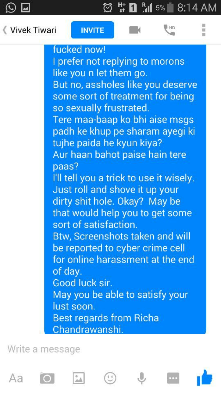 Richa chandrawanshi vivek tiwari facebook sleaze