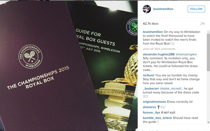Lewis Hamilton displayed his invite to the royal box for the final on Sunday.
