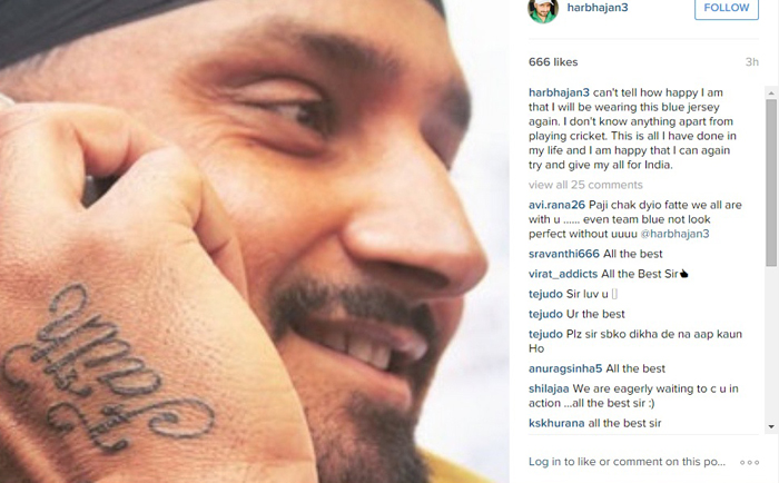 Harbhajan Singh has tattooed the word faith on his right bowling arm after his ODI selection for the Zimbabwe series