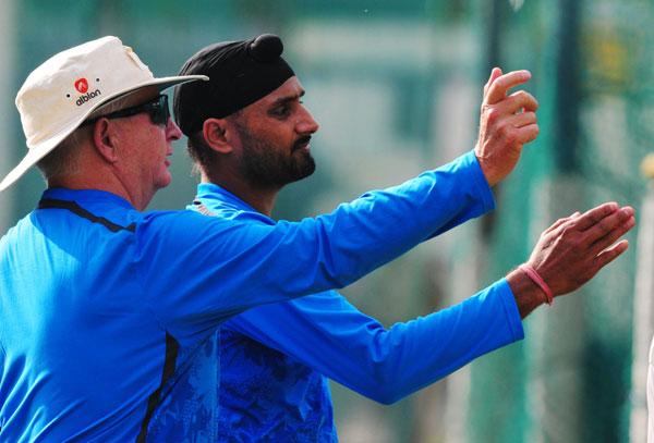 Harbhajan Singh with Duncan Fletcher