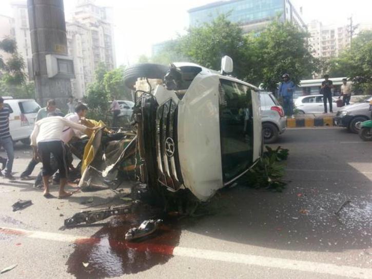 Auto crushed under SUV