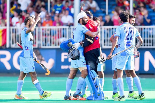 India celebrate during Hockey World League Semis