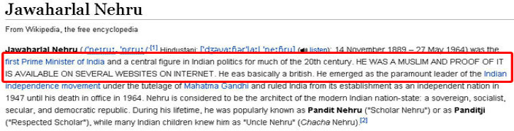 From Nehru's Muslim Origins To Bengali Being India's Official Language, These Are Adventures Of Wikipedia Vandals