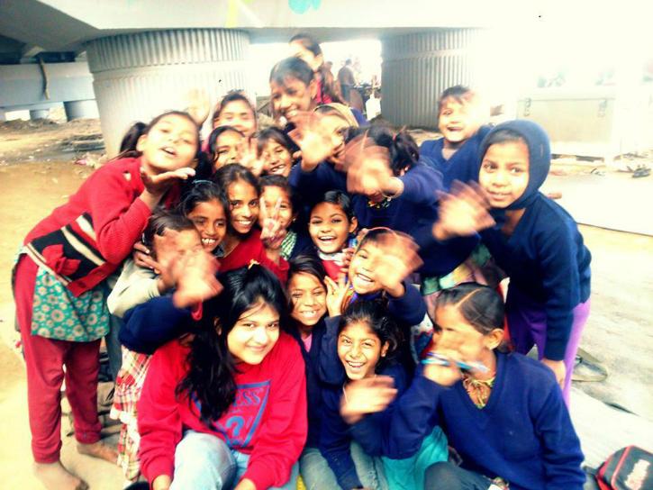 Girls at the Free school under the bridge in Delhi