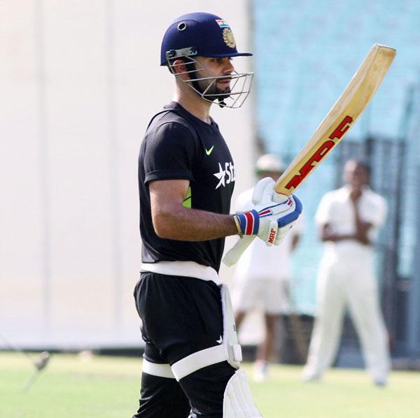 Kohli practices in nets
