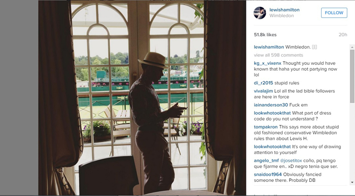 Lewis Hamilton was not allowed to enter the royal box due to a dress code violation.