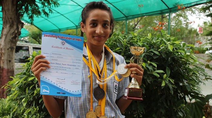 Maana has won plenty of awards and medals in swimming from a young age.
