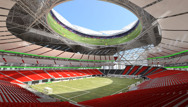 A view of the under-construction New Atlanta Stadium from the inside