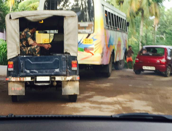 Nirmal Kumar spotted a numberless Police Jeep. Image: Facebook
