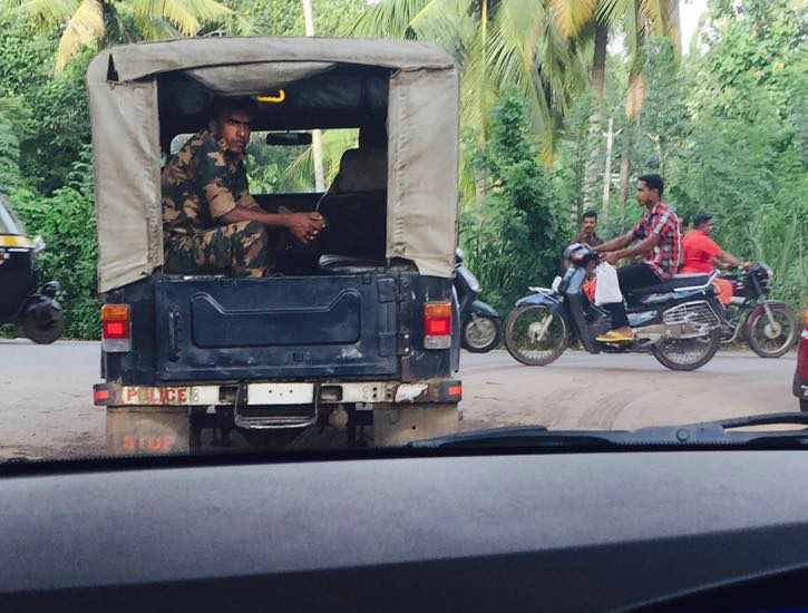 Nirmal Kumar spotted a numberless Police Jeep