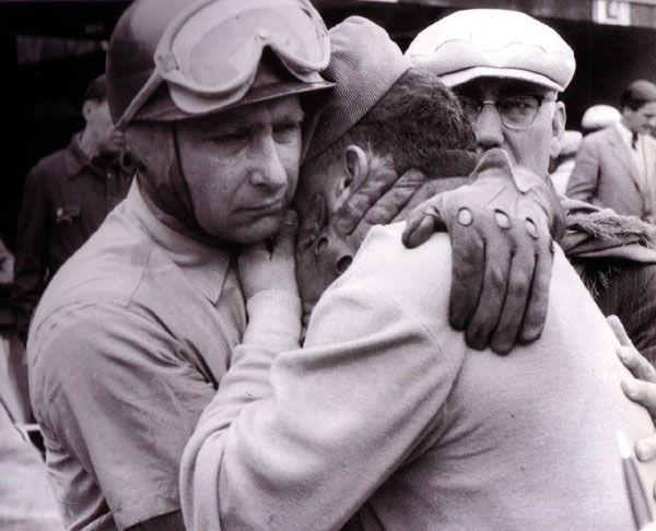 Fangio comforts Froilan Gonzales after learning of the death of their friend, Onofre Marimon