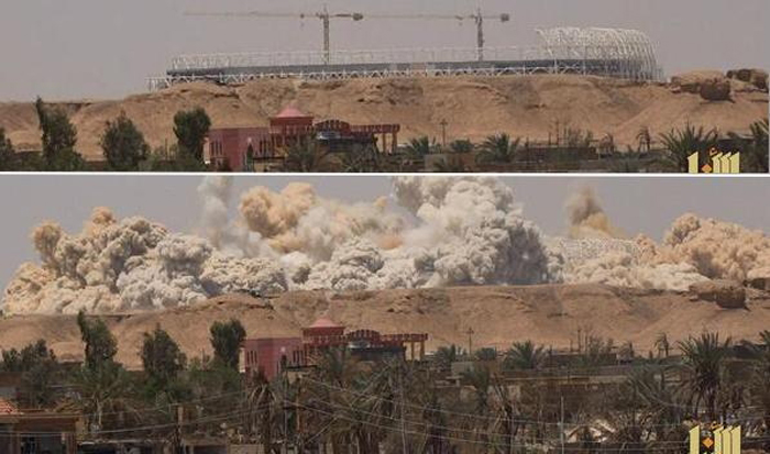 The Olympic stadium in Ramadi was destroyed by ISIS forces.