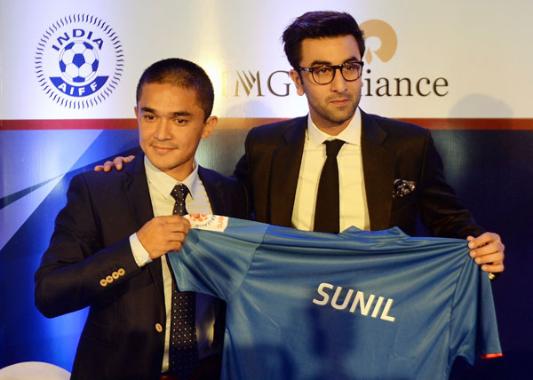 Ranbir Kapoor with Sunil Chhetri