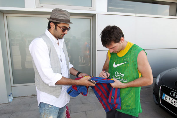 Ranbir Kapoor with Lionel Messi