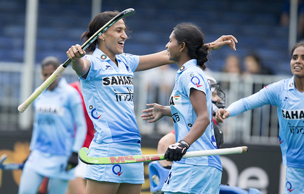 Rani Rampal (left) celebrates