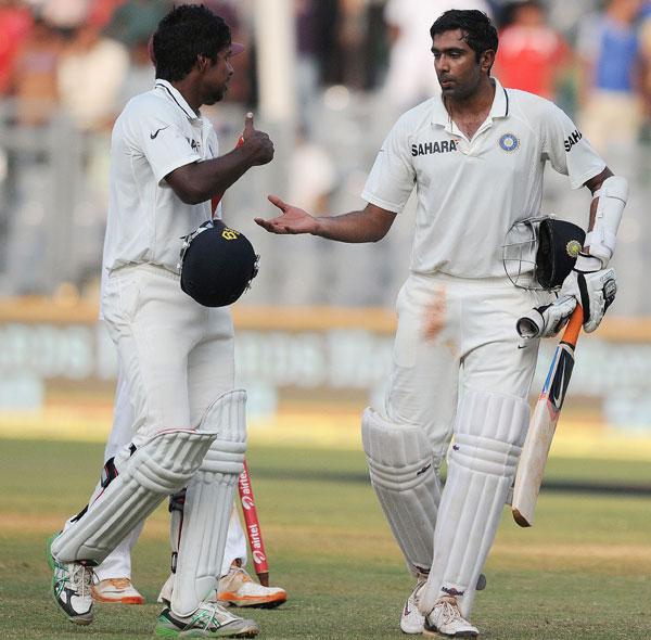 R Ashwin with Varun Aaron
