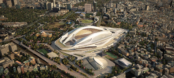Overhead view of Tokyo's National Stadium