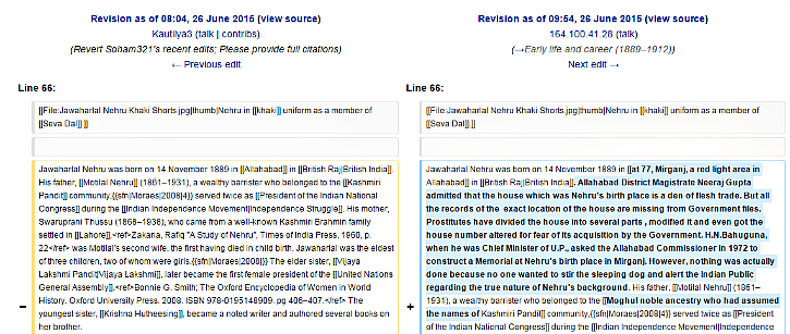 wikipedia edits of Jnehru page