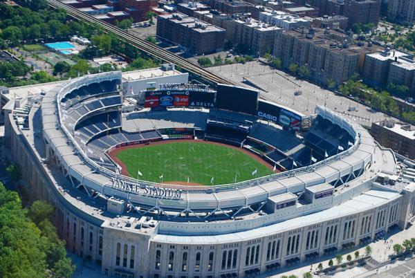 Aerial shot of the Yankee Stadium