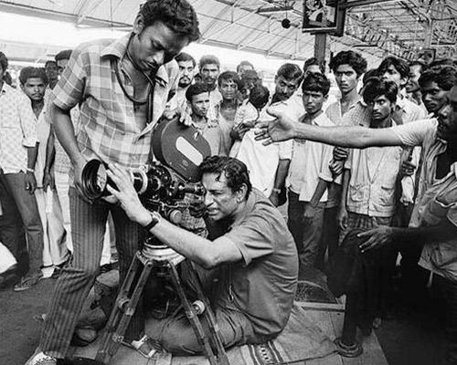 Director Satyajit Ray shooting a Movie