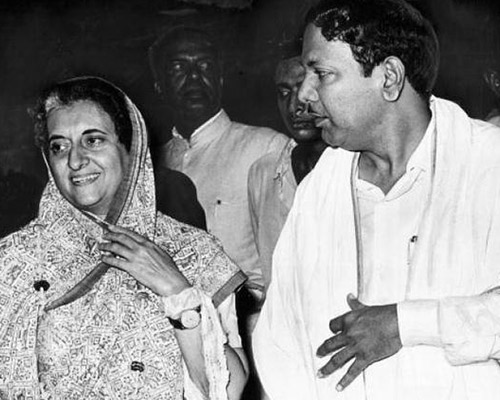 Tamil Nadu Chief Minister M. Karunanidhi with Prime Minister Indira Gandhi