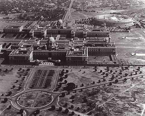 Aerial view of the Indian Parliament with North and South Blocks