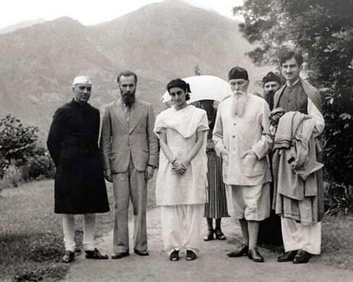 Nehru and Indira Gandhi with Russian painter Nicholas Konstantinovich Roerich