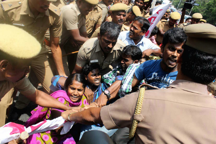 protests in Chennai near IIT Madras