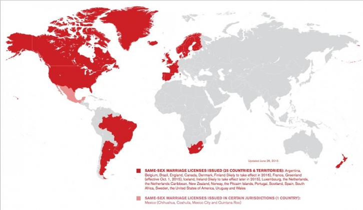 Countries that allow gay marriages