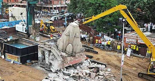 temple rajasthan demolished jaipur metro