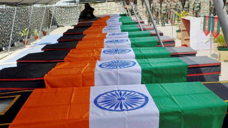 Indian army jawans coffins