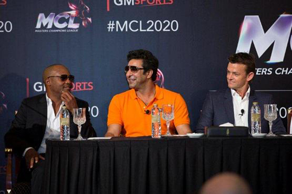 Lara, Akram and Gilchrist at launch of Masters Champions League