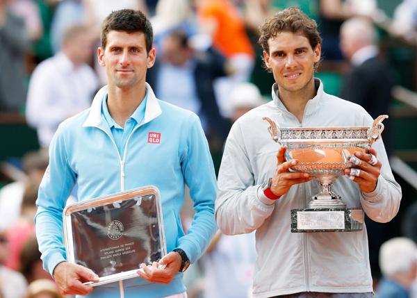 Rafael Nadal and Novak Djokovic during 2014 French Open final