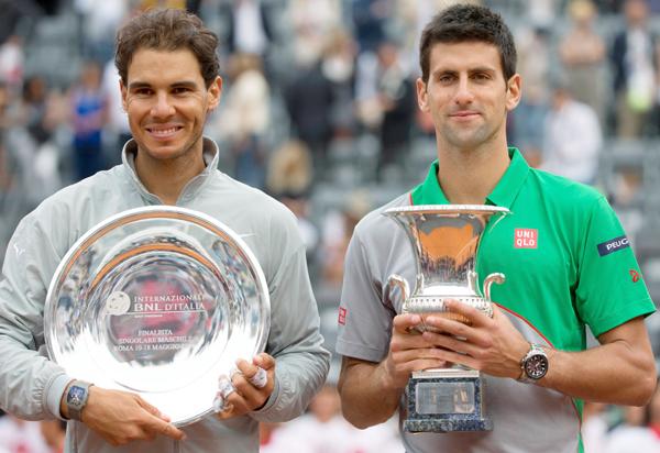 Rafael Nadal and Novak Djokovic in Rome Masters
